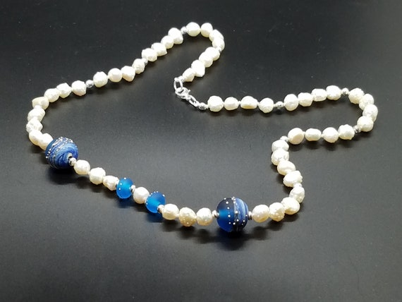 Blue Denim Torchwork Glass and Baroque Fresh Water Pearls
