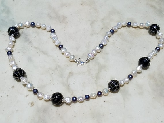 Black and Silver Torch Work Glass with Fresh Water Pearls