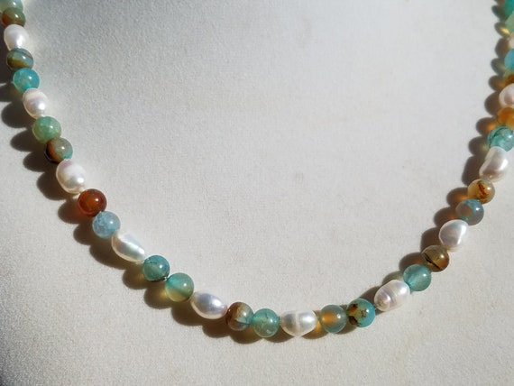 Water Agate and Baroque Fresh Water Pearls