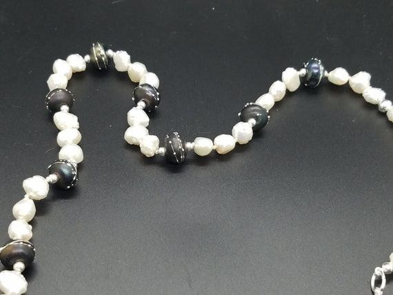 Black Torch-work Glass with Baroque Fresh Water Pearls