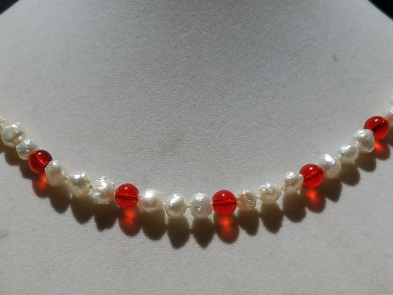 Ruby Glass and Baroque Fresh Water Pearls