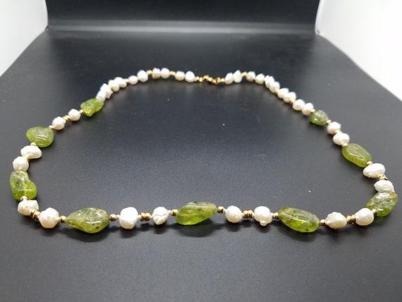 Peridot Nuggets and Baroque Fresh-Water Pearls