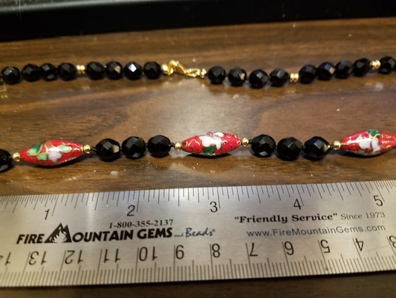 Red Cloisonne Spindle Beads and Faceted Black Glass