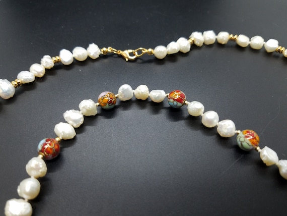 Cloisonne Beads with Baroque Fresh Water Pearls