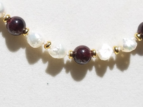 Garnets and Baroque Fresh Water Pearls