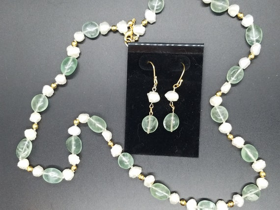 Fluorite Nuggets and Baroque Fresh-Water Pearls