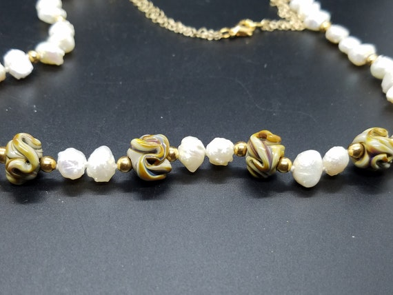 Torch Work Glass and Baroque Fresh Water Pearls