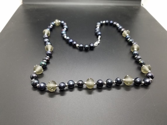 Gray Torch-work Glass with Black Fresh Water Pearls