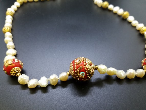 Mongolian Style Beads with Baroque Fresh Water Pearls