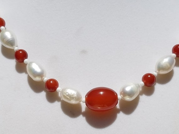 Carnelian and Fresh Water Pearls