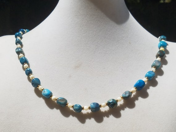 Blue Crazy Lace Agate and Mother of Pearl