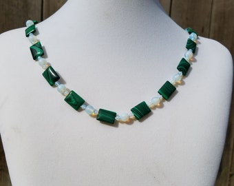 Malachite and Opal Sea Glass Necklace