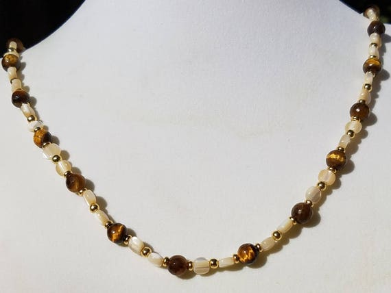 Faceted Tiger Eye and Mother of Pearl