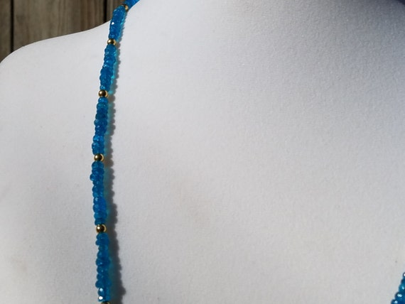 Neon Apatite and Gold Necklace