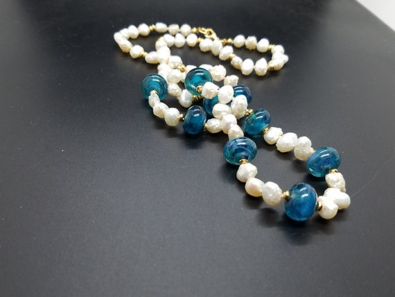 Teal Swirl Torch Work Glass and Baroque Fresh-Water Pearls