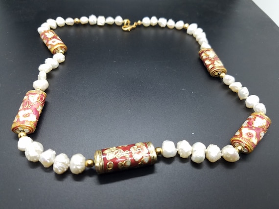 Baroque Fresh-Water Pearls and Red Cloisonne Tubular Beads