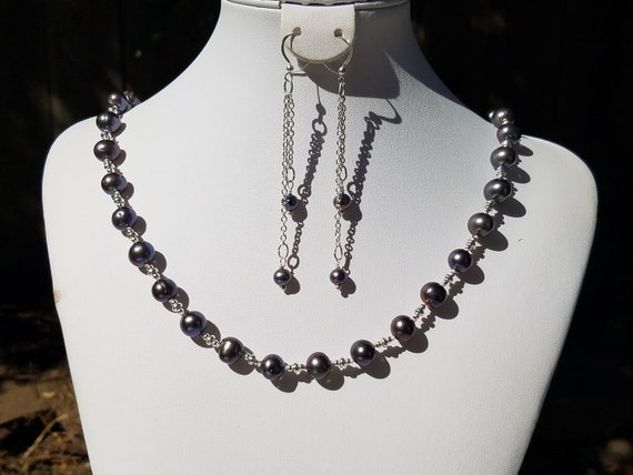 Black Fresh Water Pearls and Silver