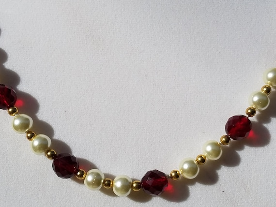 Ruby Glass Faceted Beads With Glass Pearls