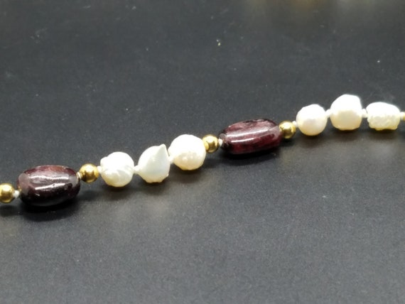 Garnets with Baroque Fresh-Water Pearls