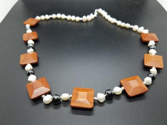 Wood, Hematite, and Baroque Fresh Water Pearls