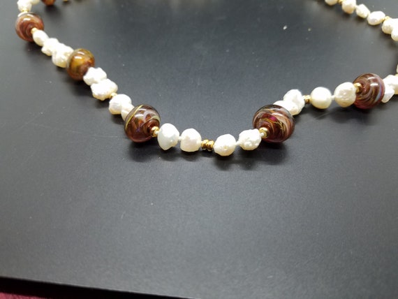 Brown Swirl Torch-work Glass with Baroque Fresh-water Pearls