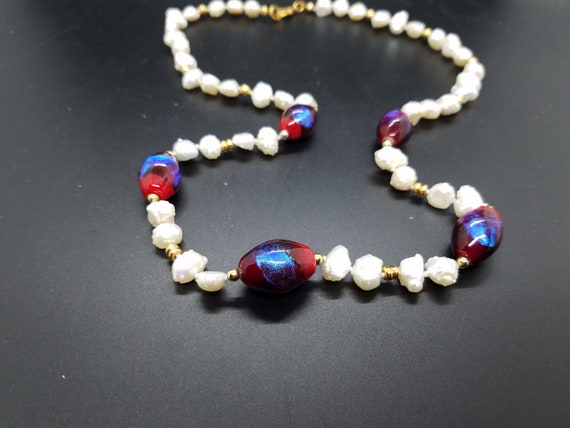 Torch-Work Dichroic Glass and Baroque Fresh-Water Pearls