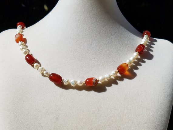 Carnelian Nuggets and Baroque Fresh Water Pearls