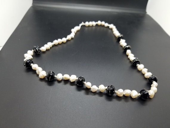 Black and Silver Torch-Work Glass with Baroque Fresh-Water Pearls