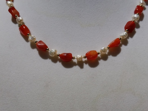 Carnelian and Baroque Fresh Water Pearls