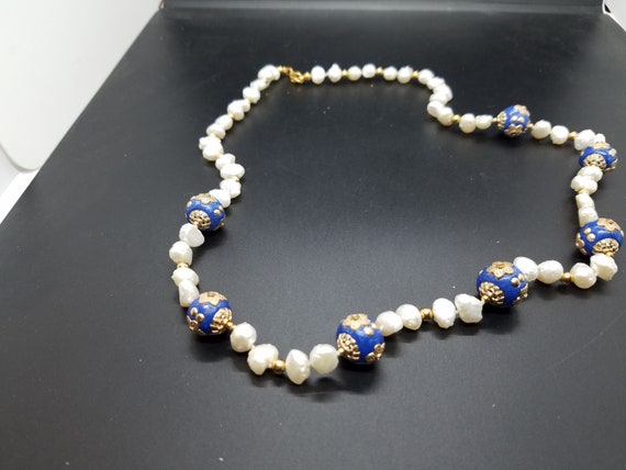 Mongolian Style Resin Beads with Baroque Fresh-Water Pearls