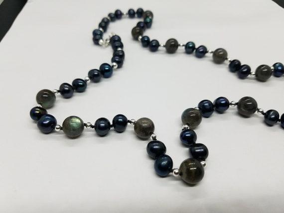 Labradorite & Black Fresh-water Pearls