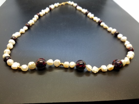 Black Fire Opal and Baroque Fresh-Water Pearls