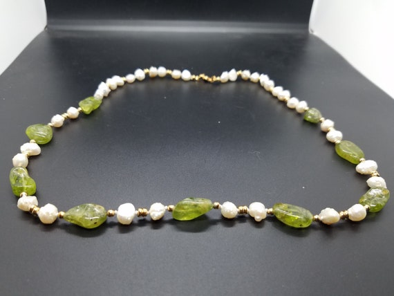 Peridot Nuggets and Baroque Fresh-Water Pearls