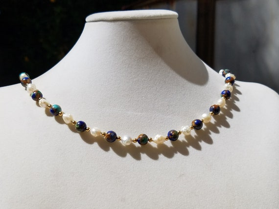 Turquoise/Lapis/Bronzeite Quartz Composite with Baroque Fresh Water Pearls