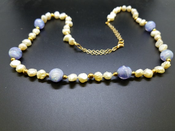 Lavender Dichroic Glass and Baroque Fresh Water Pearls