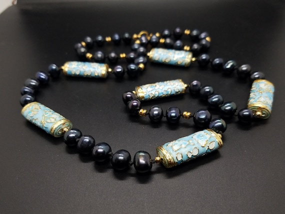 Blue Cloisonne Tubes and Black Fresh-Water Pearls