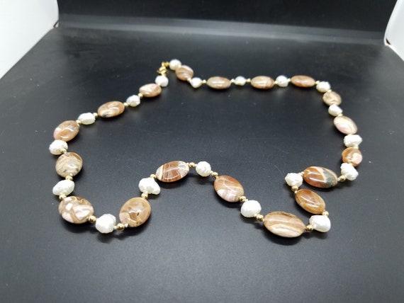 Rhodocrosite in Matrix and Baroque Fresh-Water Pearls