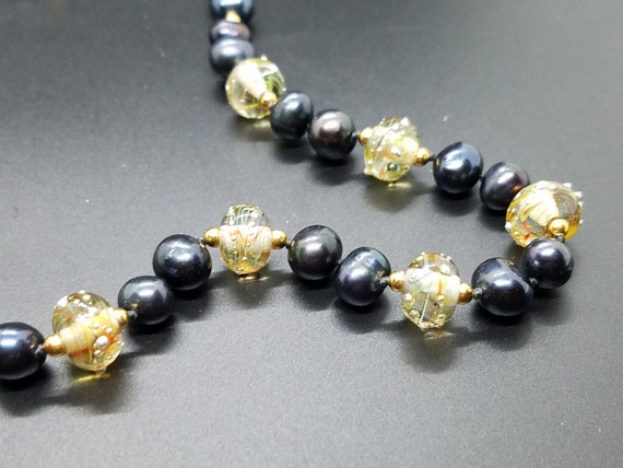 Torch Work Glass and Black Fresh Water Pearls