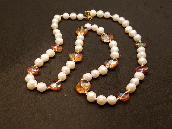 Copper Crystal Glass and Fresh-Water Pearls