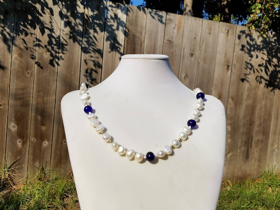 Fresh Water Button Pearls and Cobalt Glass