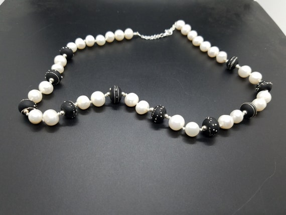 Silver Trailed Black Torch-Work Glass and Baroque Fresh-Water Pearls