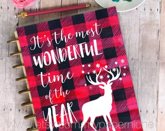 Christmas Planner cover, laminated, planner, stationery, wood/ Christmas Plaid