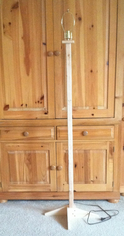 Rustic Lumber Standing Floor Lamp in the Raw