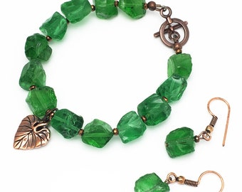 Green Crystal, Copper-Plated, Leaf Charm Jewelry Set