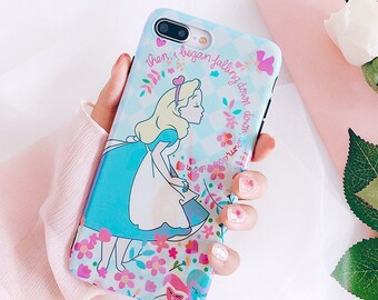 Light Blue Alice in the Wonderland with flowers Holographic Iphone 7 / 6 / 6s Plus Clear Case