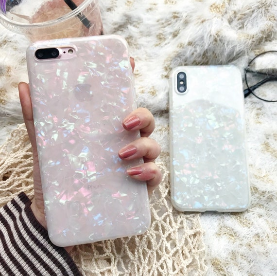 Opaque White Bling Elgant Holographic Glitter Shell I Phone 6 6s 7 8 X Plus Phone Case by Etsy