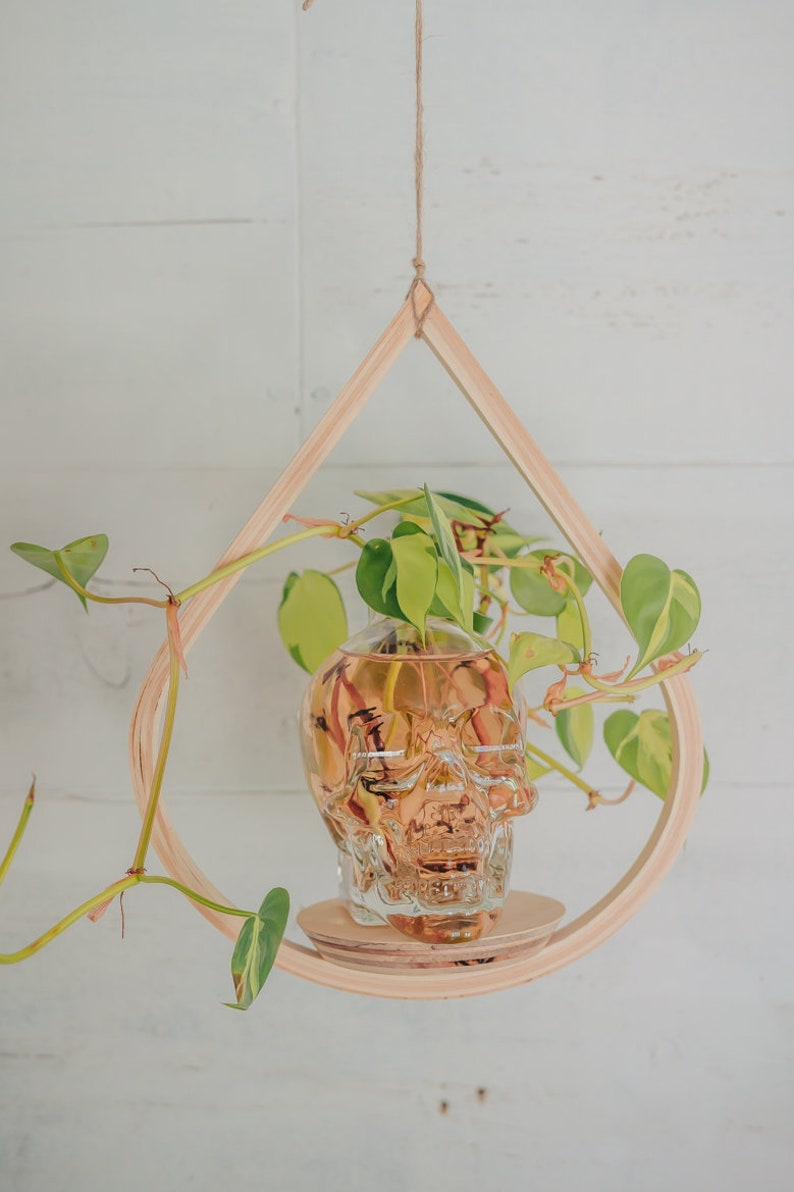 Small Wooden Plant Hanger Tear Drop Planter Planter With image 0
