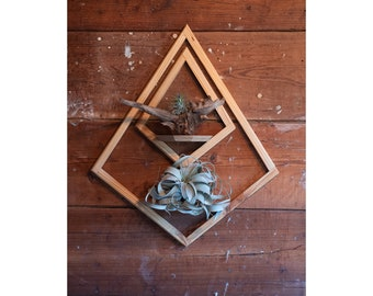 Wall Mount Double Diamond Planter with Saucer, Wall Mount Planter, Wooden Wall Hanging, Geometric Planter
