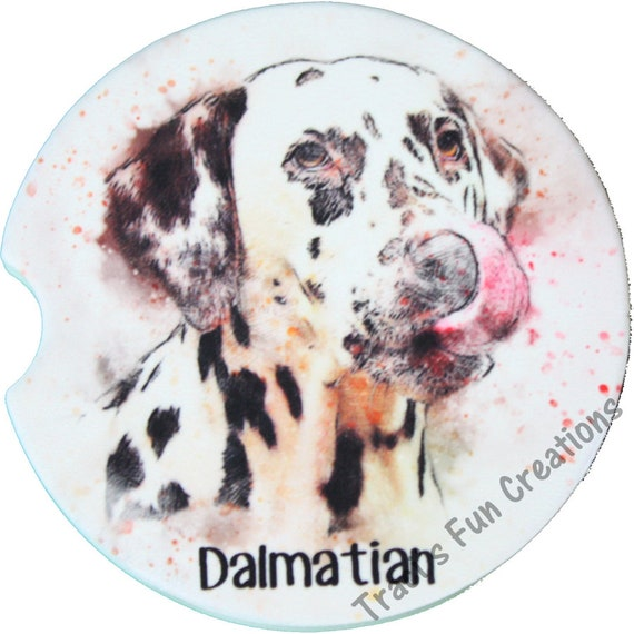 Simulated Water Color Dalmatian Portrait Sandstone Car Coasters Set of 2