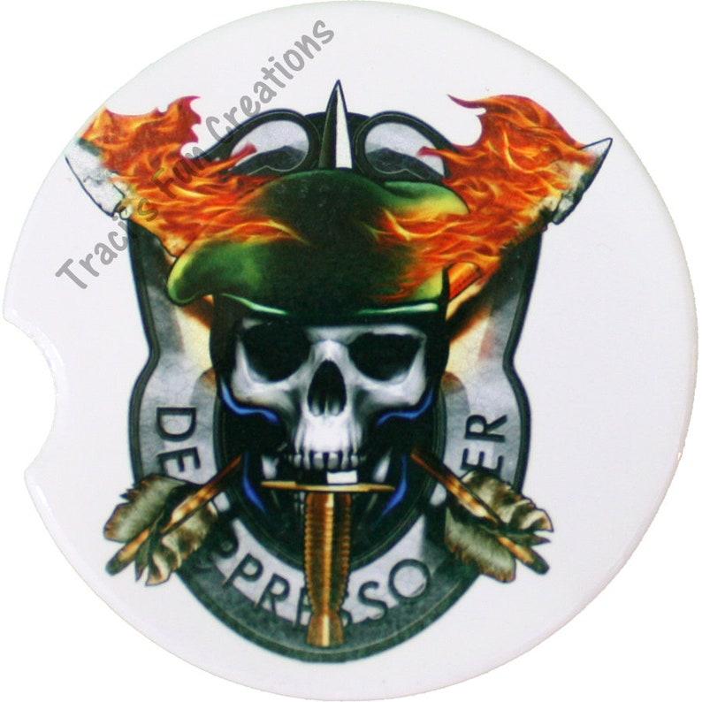 Green Beret Sandstone Car Coasters, Military Tank Coasters,car holder  coaster, Military, Army Special Forces, Military special forces